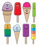 vector set of funny icecream and popsicles 