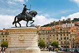 Statue of King on Central Square in Lisbon, Portugal