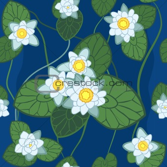 seamless pattern of white lotus