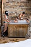 Young people in a hot tub