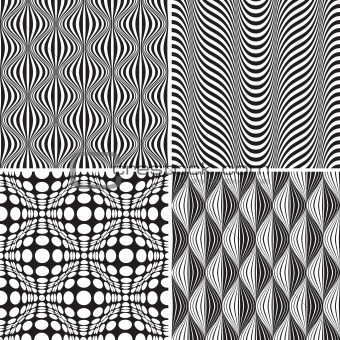 Set Of Seamless Op Art Background Pattern
