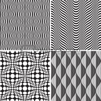Set Of Seamless Op Art Background Pattern