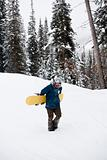 Snowboarder walking