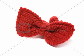 knitted red baby bow tie
