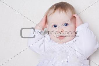 Portrait of cute little baby girl
