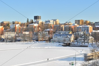 View of Lappeenranta harbor in winter