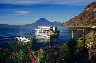 Boats on lake atitlan