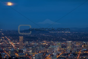 Full Moon Rising Over Portland Cityscape