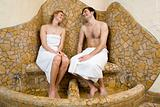 Couple using footbaths