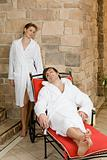 Couple relaxing at spa
