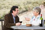 Couple having red wine