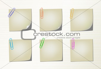Six different variation pages with bent corner and colored clips