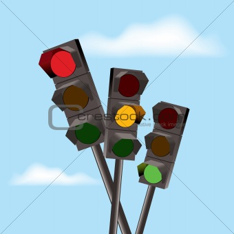 vector traffic lights with red, yellow and green color