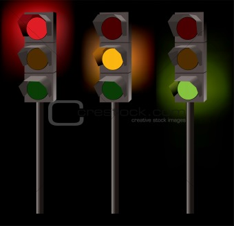vector traffic lights on black background