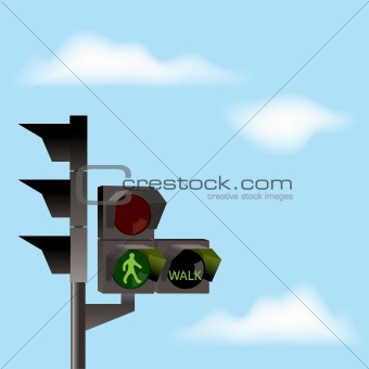 vector traffic lights and blue sky
