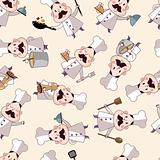 seamless cartoon chef pattern