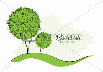 Stylized Abstract green trees.