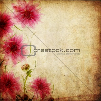 Old paper background with flowers