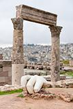 Hercules hand near Temple of Hercules in antique citadel in Amma