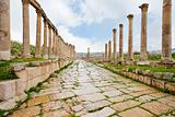  long colonnaded street in antique town Jerash