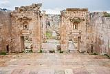 view through antique Artemis temple in ancient city  Gerasa to modern Jerash