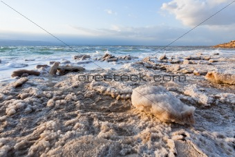  crystalline salt on beach of Dead Sea