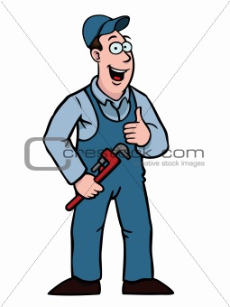 Plumber with wrench and thumbs up