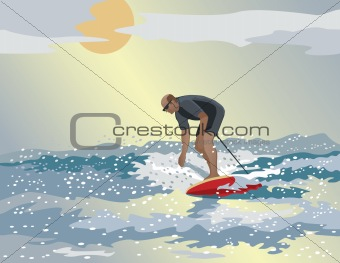 Middle-Aged Surfer