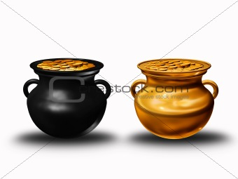pots of clay with coins