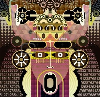Shouting man - abstract illustration