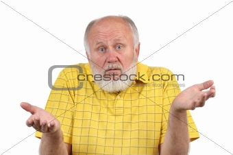 senior bald man in yellow shirt asking what's going on
