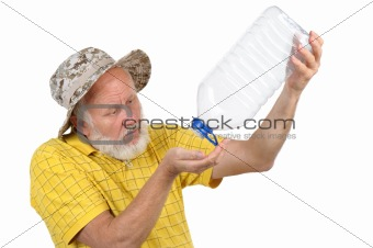 senior man with empty plastic bottle
