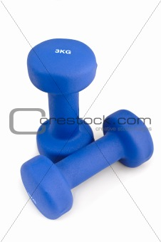 3 kg rubber dipped blue dumbbell, selective focus