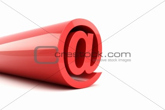 3d illustration of red email sign