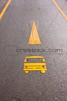 car way symbol on the ground