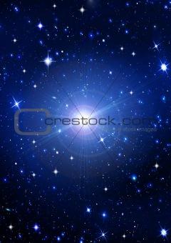 Bright shone stars in the night dark blue sky