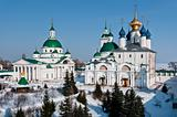 Men monastery in snow