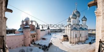Monastery in snow panorama