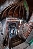 Stairs tunnel in abandoned church