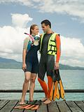 Couple in diving gear