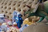 Dinosaur at a tea party