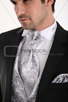 Groom in white background