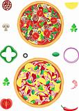 pizza and components vector illustration