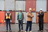 Colleagues at container terminal