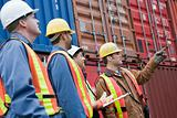 Workers at container terminal