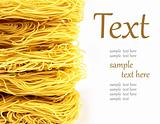 pile of noodles on a white background