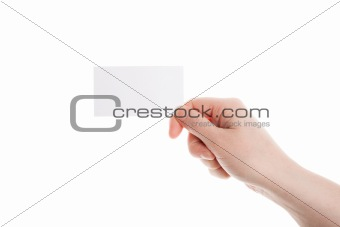 Business card in female hand