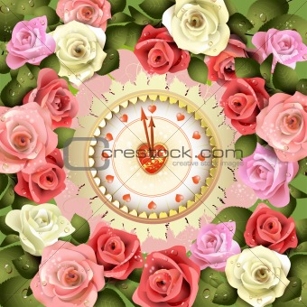 Clock design with roses