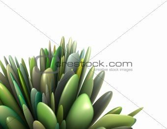 3d render abstract leaf pattern in multiple green colors