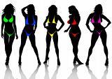Girls in color bikini